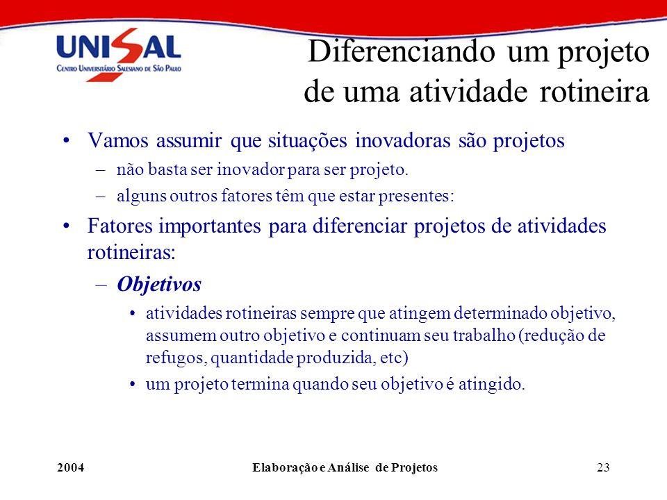 2004Elaboração e Análise de Projetos23 Diferenciando um projeto de uma atividade rotineira Vamos assumir que situações inovadoras são projetos –não ba