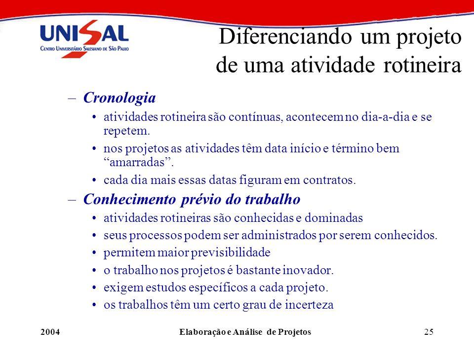 2004Elaboração e Análise de Projetos25 Diferenciando um projeto de uma atividade rotineira –Cronologia atividades rotineira são contínuas, acontecem n