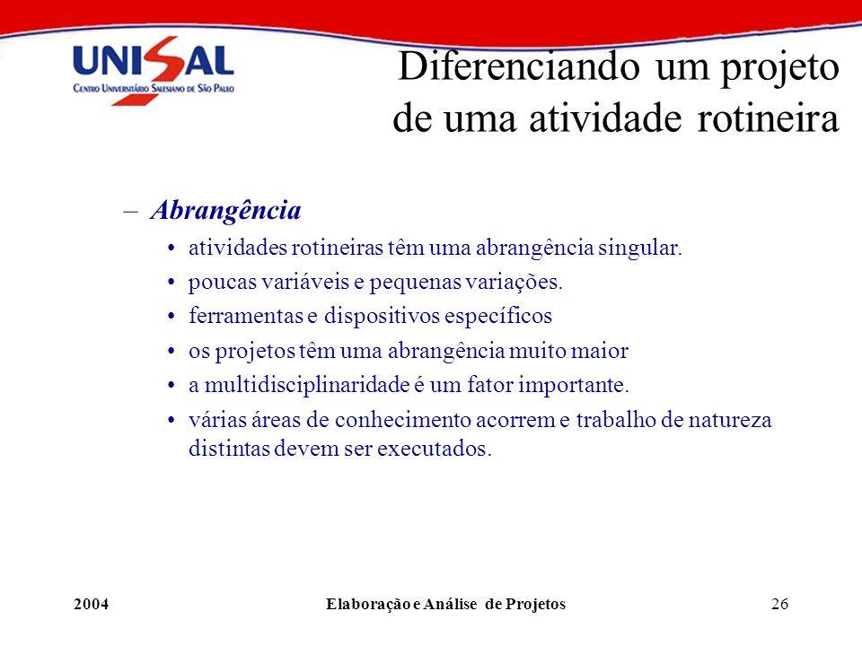 2004Elaboração e Análise de Projetos26 Diferenciando um projeto de uma atividade rotineira –Abrangência atividades rotineiras têm uma abrangência sing