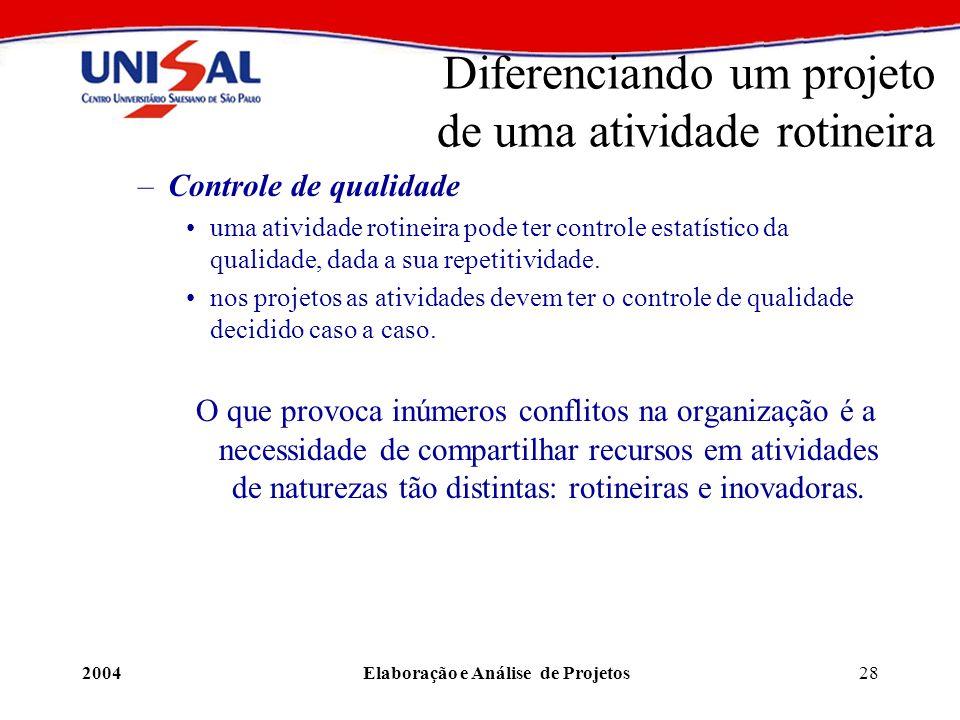 2004Elaboração e Análise de Projetos28 Diferenciando um projeto de uma atividade rotineira –Controle de qualidade uma atividade rotineira pode ter con