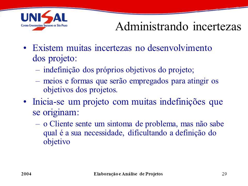 2004Elaboração e Análise de Projetos29 Administrando incertezas Existem muitas incertezas no desenvolvimento dos projeto: –indefinição dos próprios ob