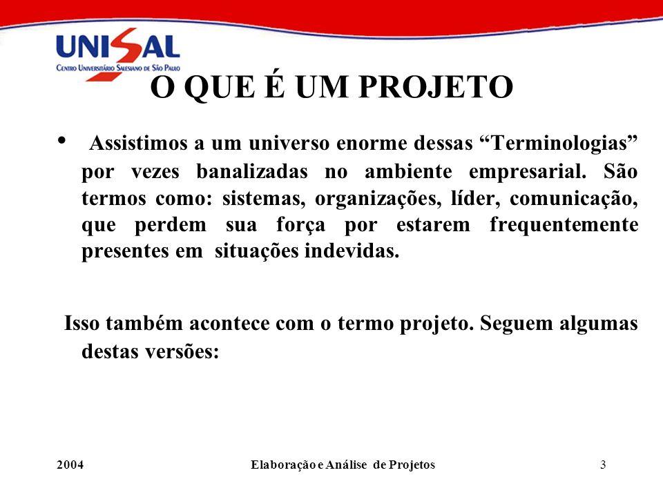 2004Elaboração e Análise de Projetos144 Diferenciação entre estruturas funcionais e por projeto Pontualidade Estruturas funcionais: Estruturas por projeto: melhor cumprimento dos prazos dos projetos
