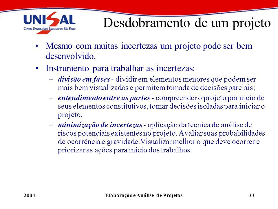 2004Elaboração e Análise de Projetos33 Desdobramento de um projeto Mesmo com muitas incertezas um projeto pode ser bem desenvolvido. Instrumento para