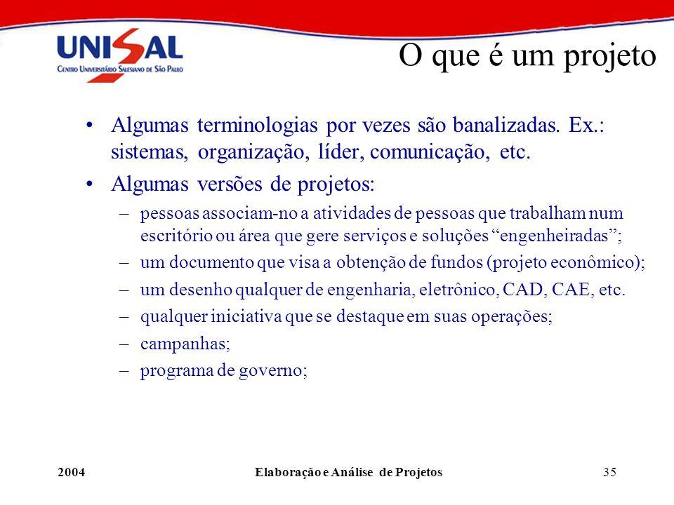 2004Elaboração e Análise de Projetos35 O que é um projeto Algumas terminologias por vezes são banalizadas. Ex.: sistemas, organização, líder, comunica