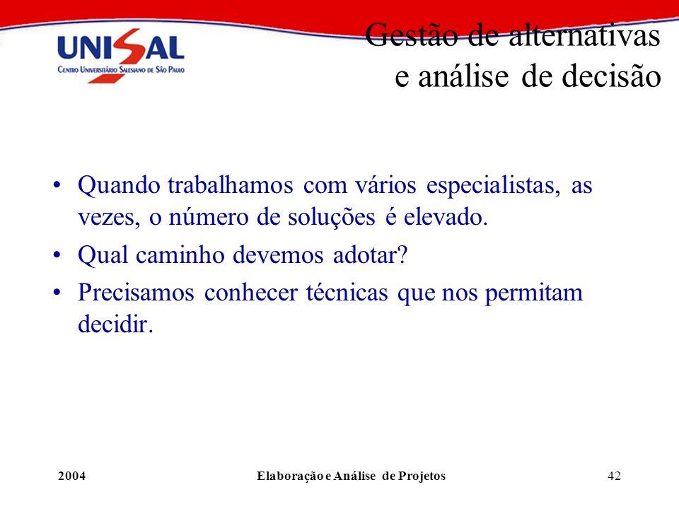 2004Elaboração e Análise de Projetos42 Gestão de alternativas e análise de decisão Quando trabalhamos com vários especialistas, as vezes, o número de
