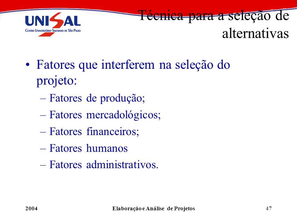 2004Elaboração e Análise de Projetos47 Técnica para a seleção de alternativas Fatores que interferem na seleção do projeto: –Fatores de produção; –Fat