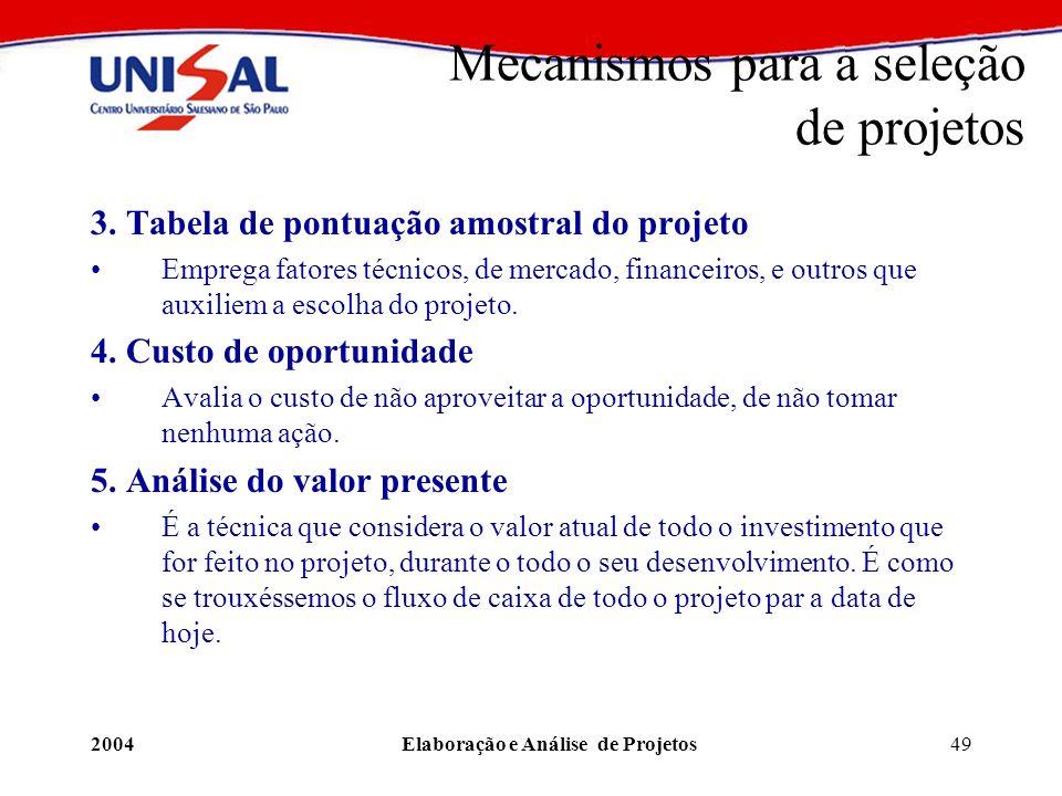 2004Elaboração e Análise de Projetos49 3. Tabela de pontuação amostral do projeto Emprega fatores técnicos, de mercado, financeiros, e outros que auxi