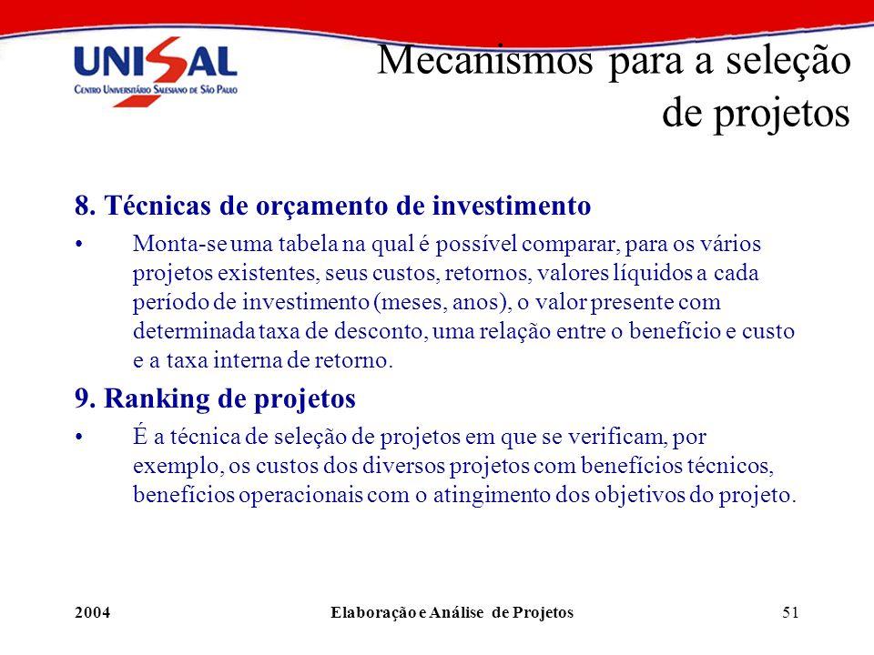2004Elaboração e Análise de Projetos51 8. Técnicas de orçamento de investimento Monta-se uma tabela na qual é possível comparar, para os vários projet