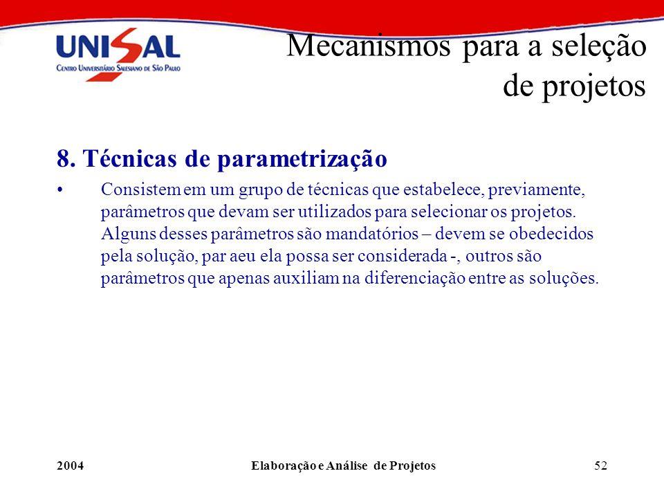 2004Elaboração e Análise de Projetos52 8. Técnicas de parametrização Consistem em um grupo de técnicas que estabelece, previamente, parâmetros que dev