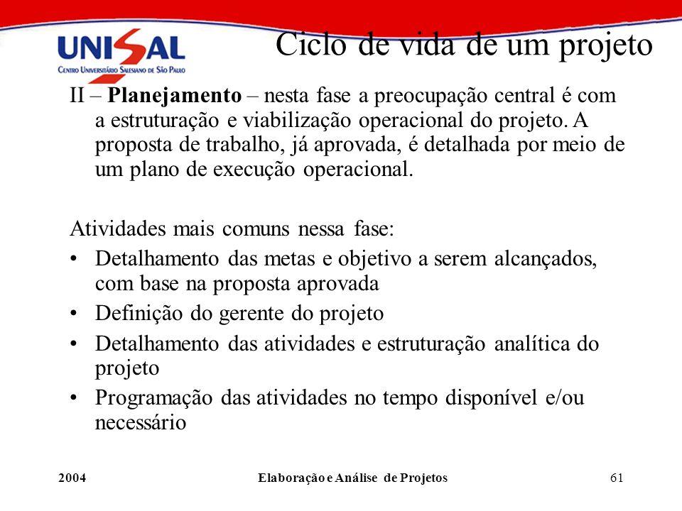 2004Elaboração e Análise de Projetos61 Ciclo de vida de um projeto II – Planejamento – nesta fase a preocupação central é com a estruturação e viabili