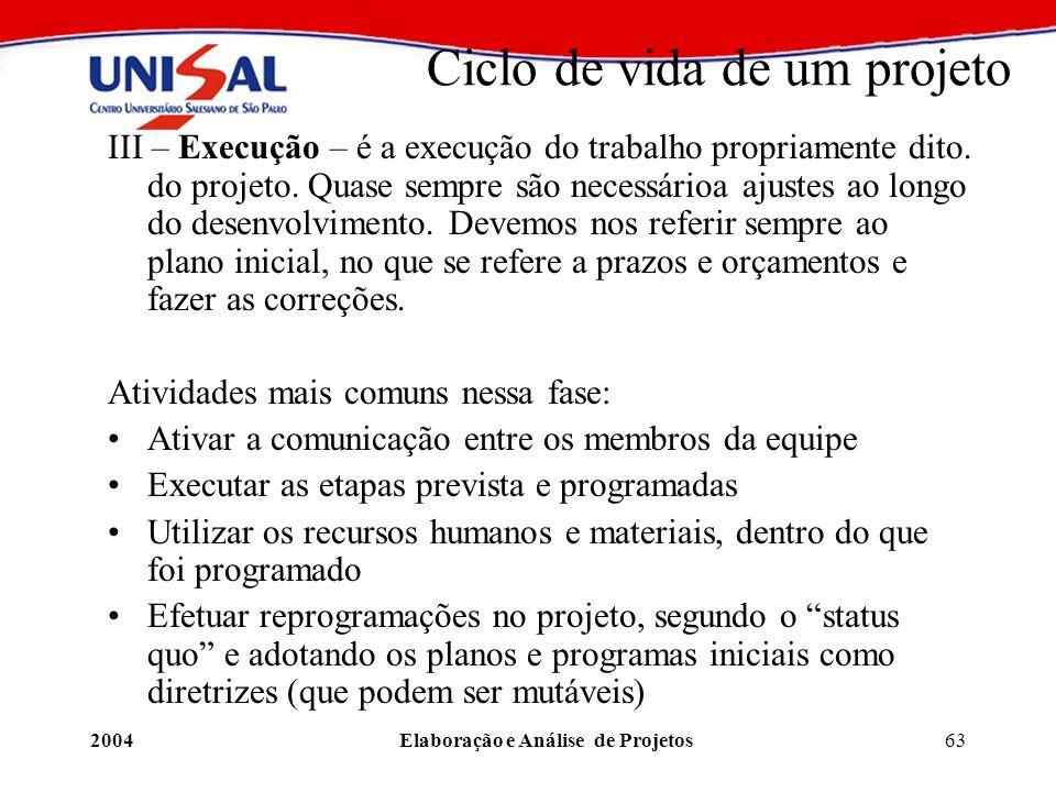 2004Elaboração e Análise de Projetos63 Ciclo de vida de um projeto III – Execução – é a execução do trabalho propriamente dito. do projeto. Quase semp