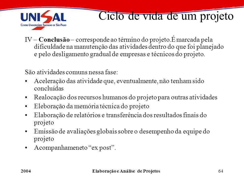 2004Elaboração e Análise de Projetos64 Ciclo de vida de um projeto IV – Conclusão – corresponde ao término do projeto.É marcada pela dificuldade na ma