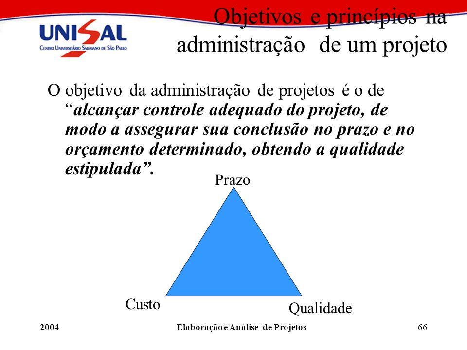 2004Elaboração e Análise de Projetos66 Objetivos e princípios na administração de um projeto O objetivo da administração de projetos é o dealcançar co