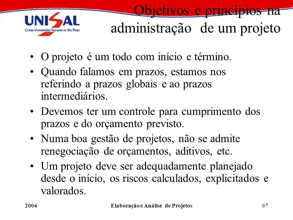 2004Elaboração e Análise de Projetos67 Objetivos e princípios na administração de um projeto O projeto é um todo com início e término. Quando falamos