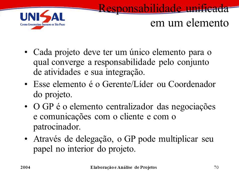 2004Elaboração e Análise de Projetos70 Responsabilidade unificada em um elemento Cada projeto deve ter um único elemento para o qual converge a respon