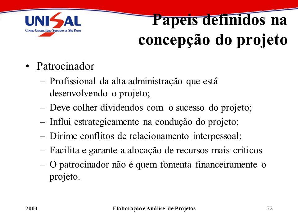 2004Elaboração e Análise de Projetos72 Papeis definidos na concepção do projeto Patrocinador –Profissional da alta administração que está desenvolvend