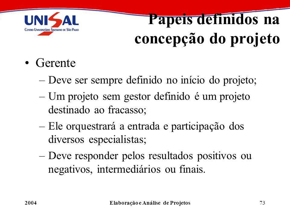 2004Elaboração e Análise de Projetos73 Papeis definidos na concepção do projeto Gerente –Deve ser sempre definido no início do projeto; –Um projeto se