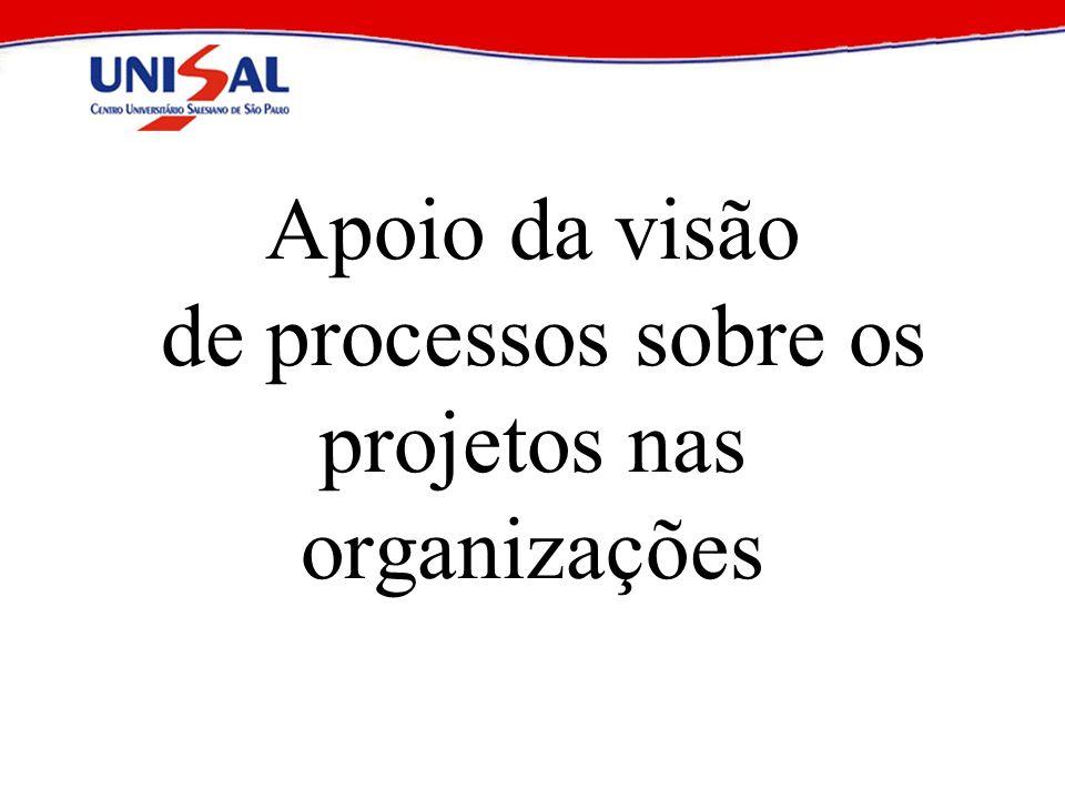 Apoio da visão de processos sobre os projetos nas organizações