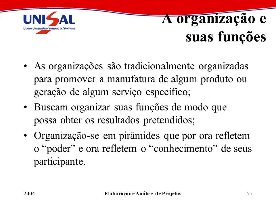 2004Elaboração e Análise de Projetos77 A organização e suas funções As organizações são tradicionalmente organizadas para promover a manufatura de alg