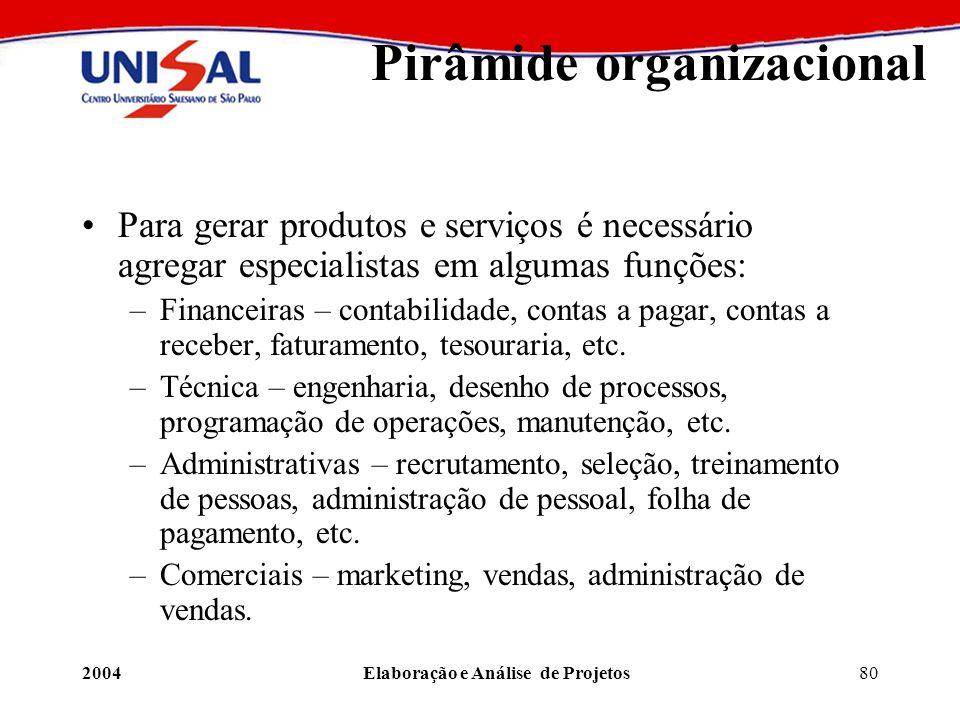 2004Elaboração e Análise de Projetos80 Pirâmide organizacional Para gerar produtos e serviços é necessário agregar especialistas em algumas funções: –