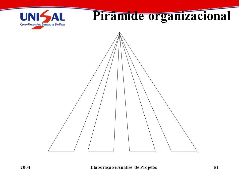 2004Elaboração e Análise de Projetos81 Pirâmide organizacional