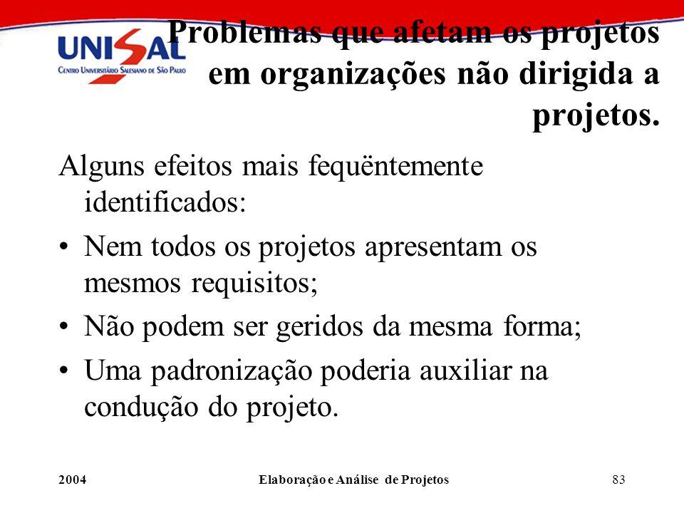 2004Elaboração e Análise de Projetos83 Problemas que afetam os projetos em organizações não dirigida a projetos. Alguns efeitos mais fequëntemente ide