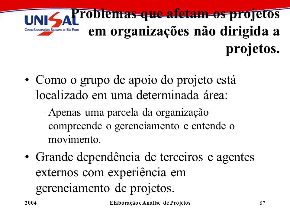 2004Elaboração e Análise de Projetos87 Problemas que afetam os projetos em organizações não dirigida a projetos. Como o grupo de apoio do projeto está