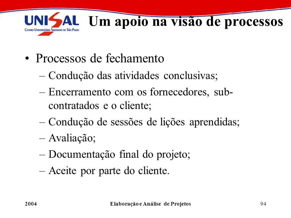 2004Elaboração e Análise de Projetos94 Um apoio na visão de processos Processos de fechamento –Condução das atividades conclusivas; –Encerramento com
