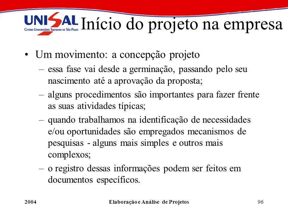 2004Elaboração e Análise de Projetos96 Início do projeto na empresa Um movimento: a concepção projeto –essa fase vai desde a germinação, passando pelo