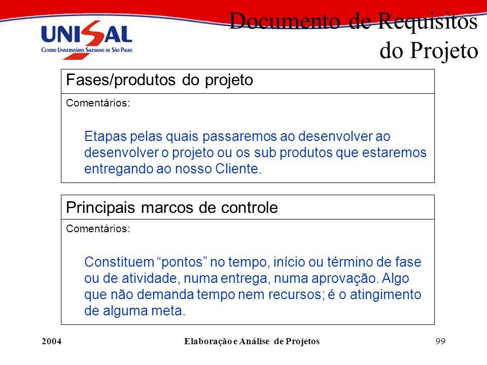 2004Elaboração e Análise de Projetos99 Documento de Requisitos do Projeto Fases/produtos do projeto Comentários: Etapas pelas quais passaremos ao dese