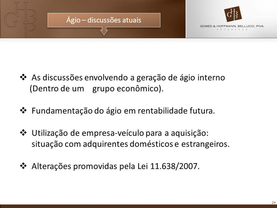 24 Ágio – discussões atuais As discussões envolvendo a geração de ágio interno (Dentro de um grupo econômico). Fundamentação do ágio em rentabilidade