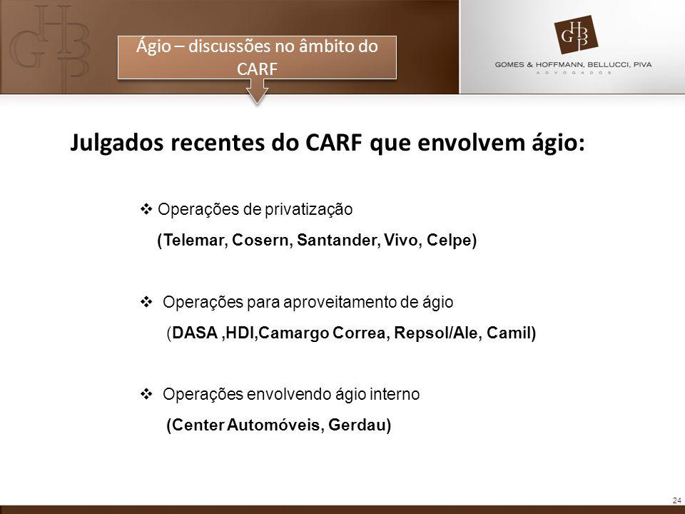 24 Ágio – discussões no âmbito do CARF Julgados recentes do CARF que envolvem ágio: Operações de privatização (Telemar, Cosern, Santander, Vivo, Celpe