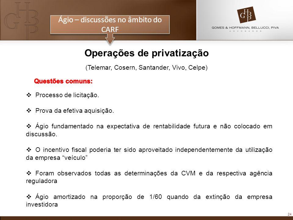 24 Ágio – discussões no âmbito do CARF Operações de privatização (Telemar, Cosern, Santander, Vivo, Celpe) Processo de licitação. Prova da efetiva aqu