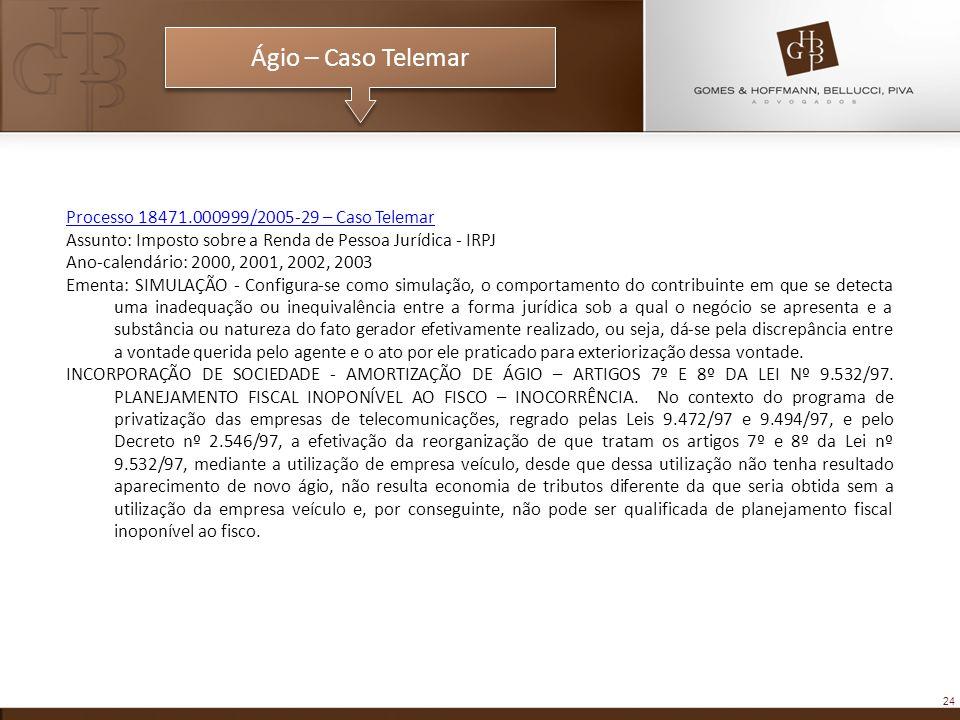 Processo 18471.000999/2005-29 – Caso Telemar Assunto: Imposto sobre a Renda de Pessoa Jurídica - IRPJ Ano-calendário: 2000, 2001, 2002, 2003 Ementa: S