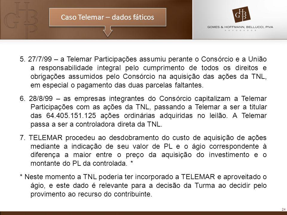 24 Caso Telemar – dados fáticos 5. 27/7/99 – a Telemar Participações assumiu perante o Consórcio e a União a responsabilidade integral pelo cumpriment