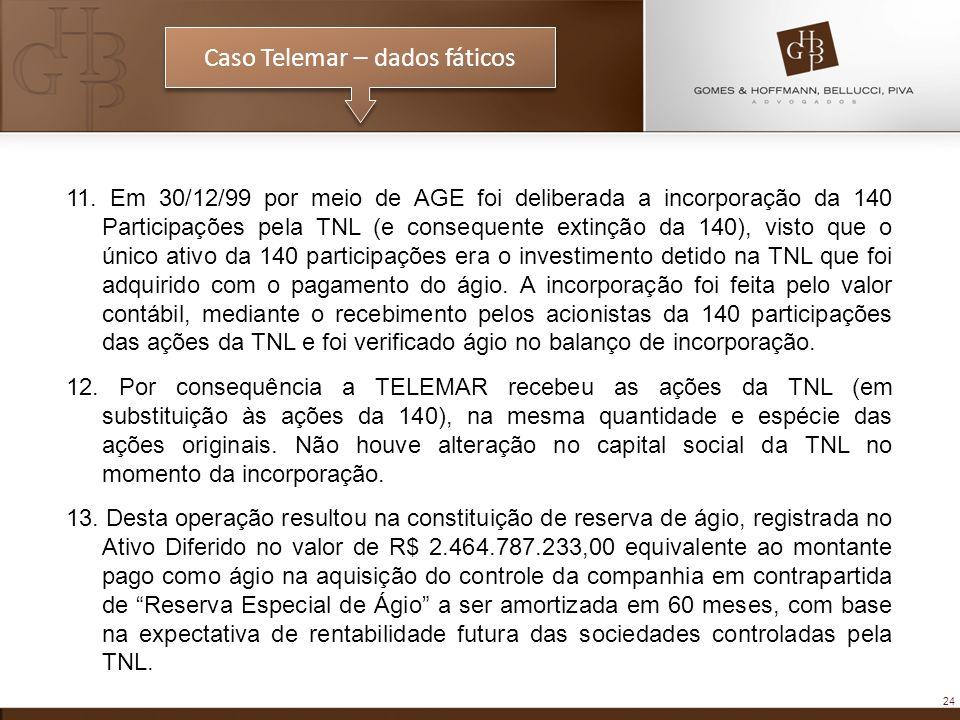 24 Caso Telemar – dados fáticos 11. Em 30/12/99 por meio de AGE foi deliberada a incorporação da 140 Participações pela TNL (e consequente extinção da