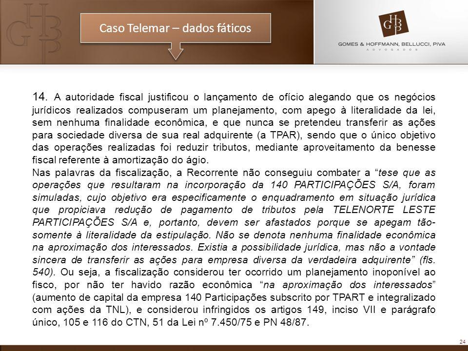 24 Caso Telemar – dados fáticos 14. A autoridade fiscal justificou o lançamento de ofício alegando que os negócios jurídicos realizados compuseram um