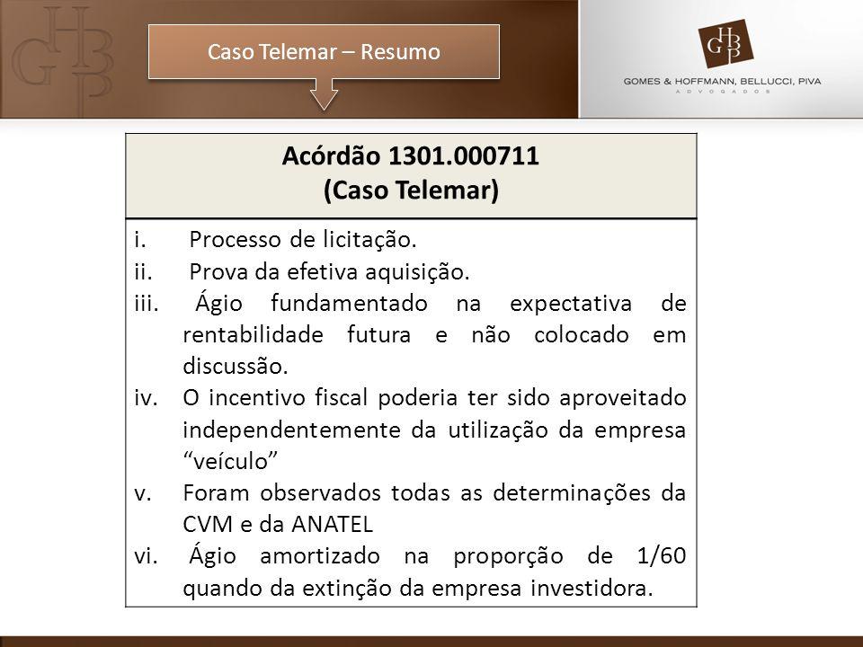 Caso Telemar – Resumo Acórdão 1301.000711 (Caso Telemar) i. Processo de licitação. ii. Prova da efetiva aquisição. iii. Ágio fundamentado na expectati