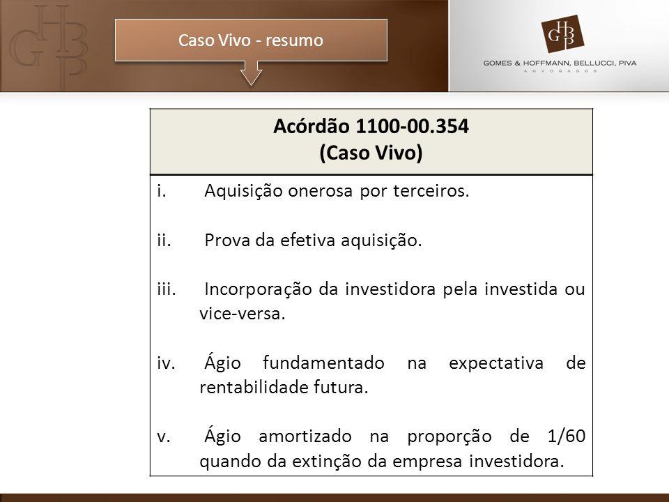 Caso Vivo - resumo Acórdão 1100-00.354 (Caso Vivo) i. Aquisição onerosa por terceiros. ii. Prova da efetiva aquisição. iii. Incorporação da investidor
