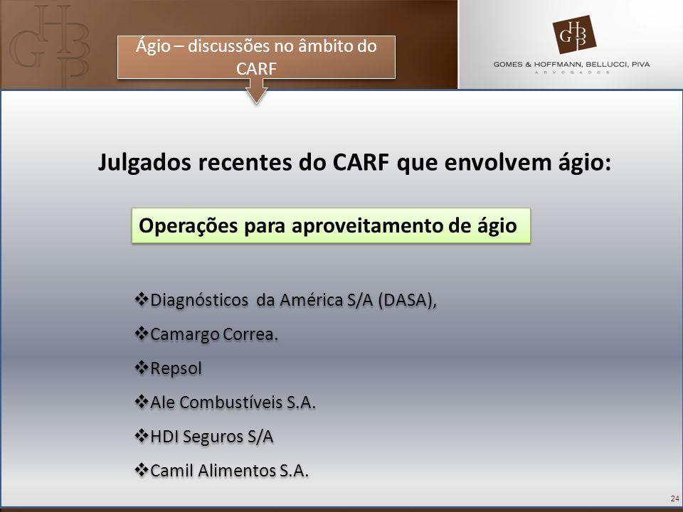 24 Ágio – discussões no âmbito do CARF Julgados recentes do CARF que envolvem ágio: Diagnósticos da América S/A (DASA), Camargo Correa. Repsol Ale Com