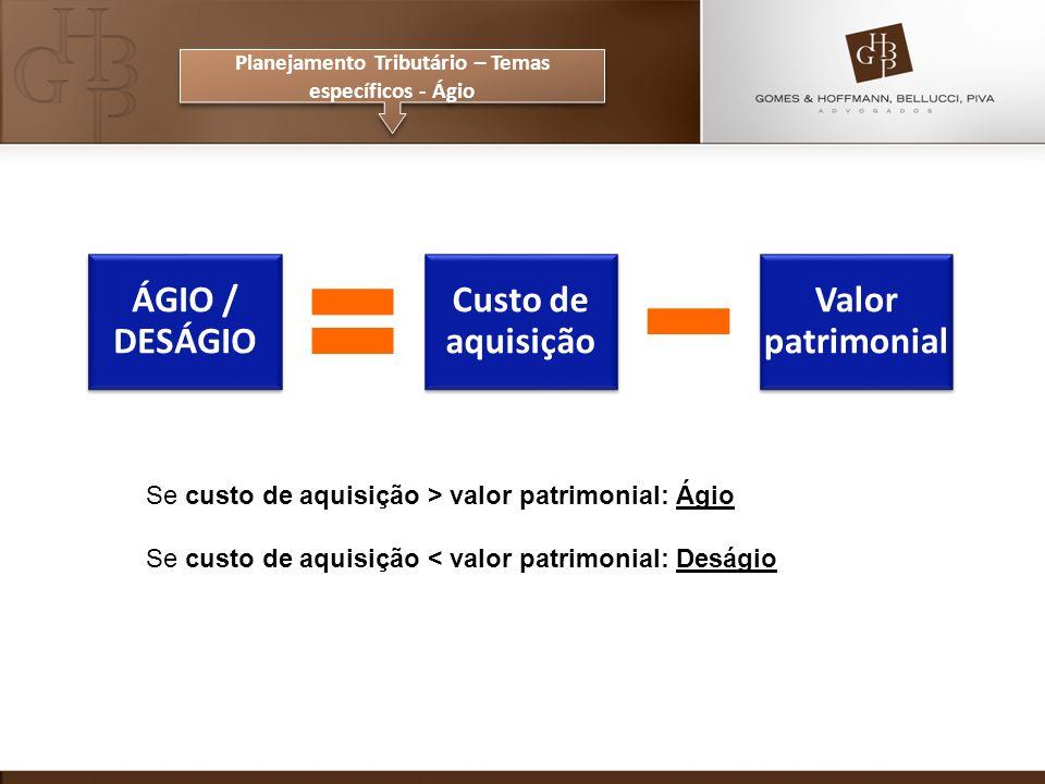 Se custo de aquisição > valor patrimonial: Ágio Se custo de aquisição < valor patrimonial: Deságio ÁGIO / DESÁGIO Custo de aquisição Valor patrimonial Planejamento Tributário – Temas específicos - Ágio