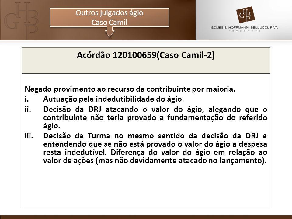 Outros julgados ágio Caso Camil Outros julgados ágio Caso Camil Acórdão 120100659(Caso Camil-2) Negado provimento ao recurso da contribuinte por maioria.