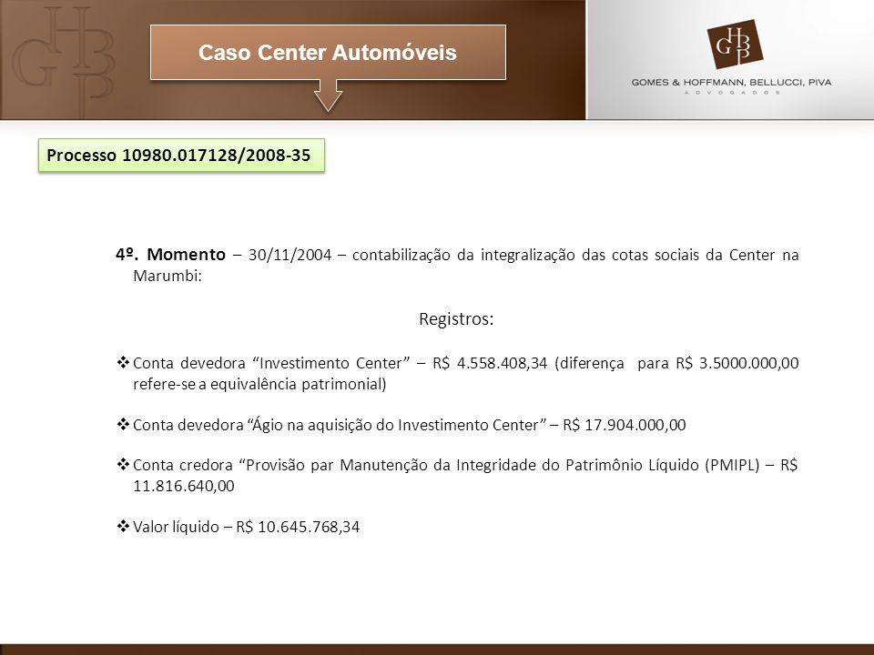Caso Center Automóveis Processo 10980.017128/2008-35 4º. Momento – 30/11/2004 – contabilização da integralização das cotas sociais da Center na Marumb