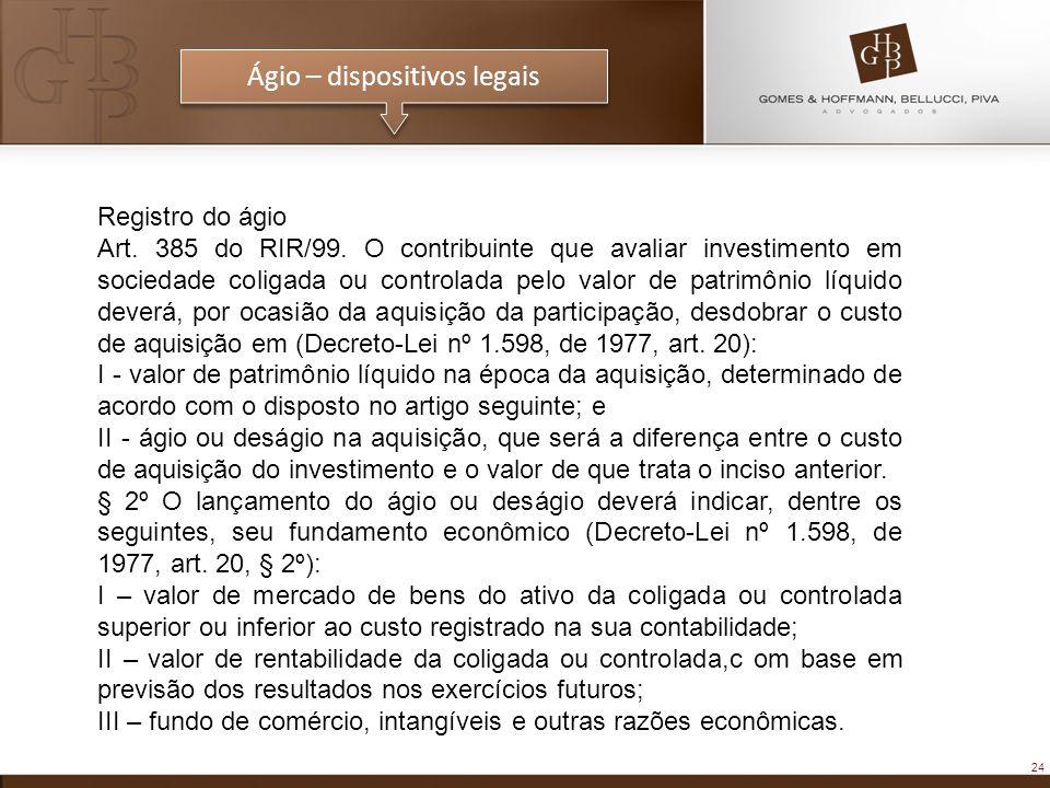24 Registro do ágio Art. 385 do RIR/99. O contribuinte que avaliar investimento em sociedade coligada ou controlada pelo valor de patrimônio líquido d
