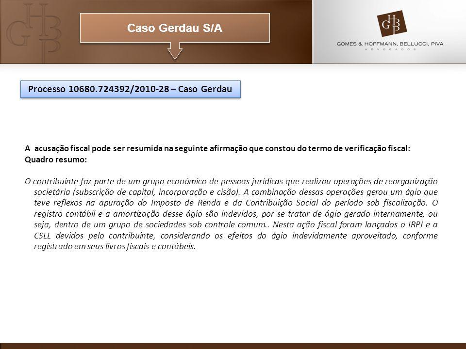 Caso Gerdau S/A Processo 10680.724392/2010-28 – Caso Gerdau A acusação fiscal pode ser resumida na seguinte afirmação que constou do termo de verifica