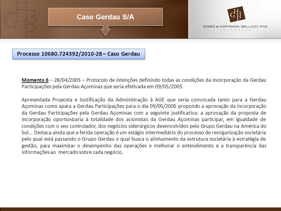 Caso Gerdau S/A Momento 6 – 28/04/2005 – Protocolo de intenções definindo todas as condições da incorporação da Gerdau Participações pela Gerdau Açomi