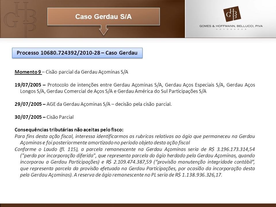 Caso Gerdau S/A Momento 9 – Cisão parcial da Gerdau Açominas S/A 19/07/2005 – Protocolo de intenções entre Gerdau Açominas S/A, Gerdau Aços Especiais S/A, Gerdau Aços Longos S/A, Gerdau Comercial de Aços S/A e Gerdau América do Sul Participações S/A 29/07/2005 – AGE da Gerdau Açominas S/A – decisão pela cisão parcial.