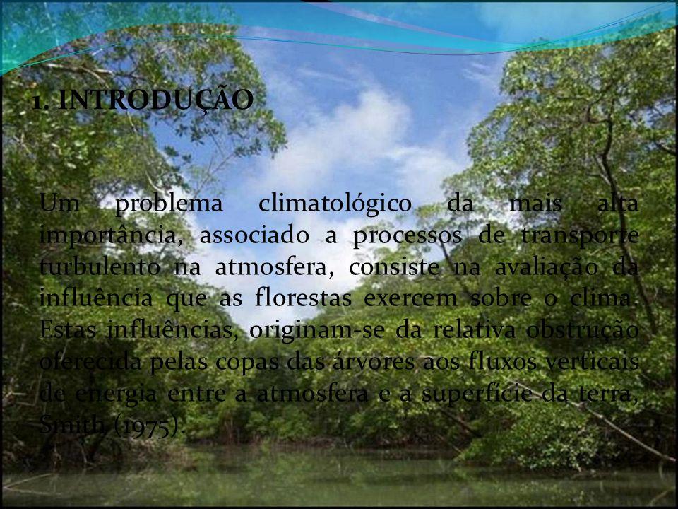 1. INTRODUÇÃO Um problema climatológico da mais alta importância, associado a processos de transporte turbulento na atmosfera, consiste na avaliação d