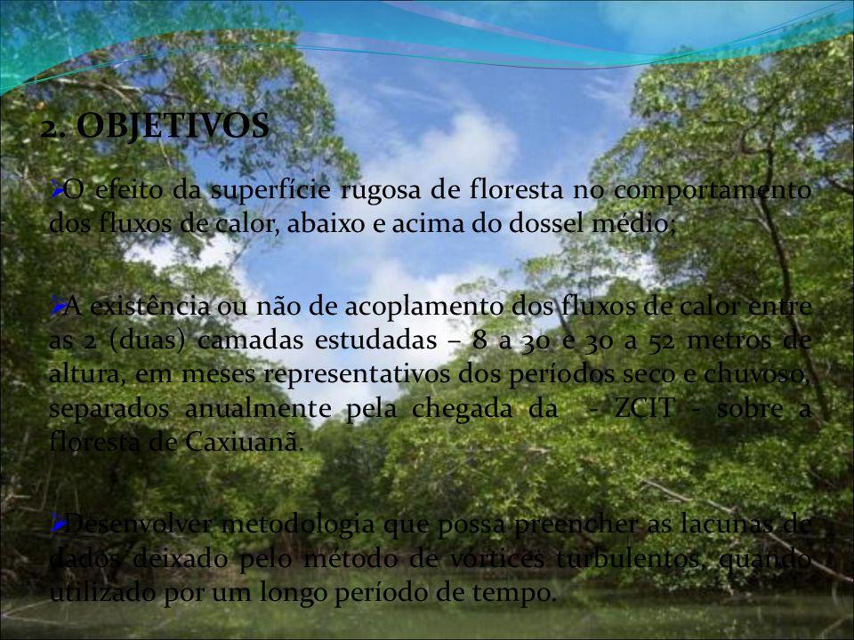2. OBJETIVOS O efeito da superfície rugosa de floresta no comportamento dos fluxos de calor, abaixo e acima do dossel médio; A existência ou não de ac