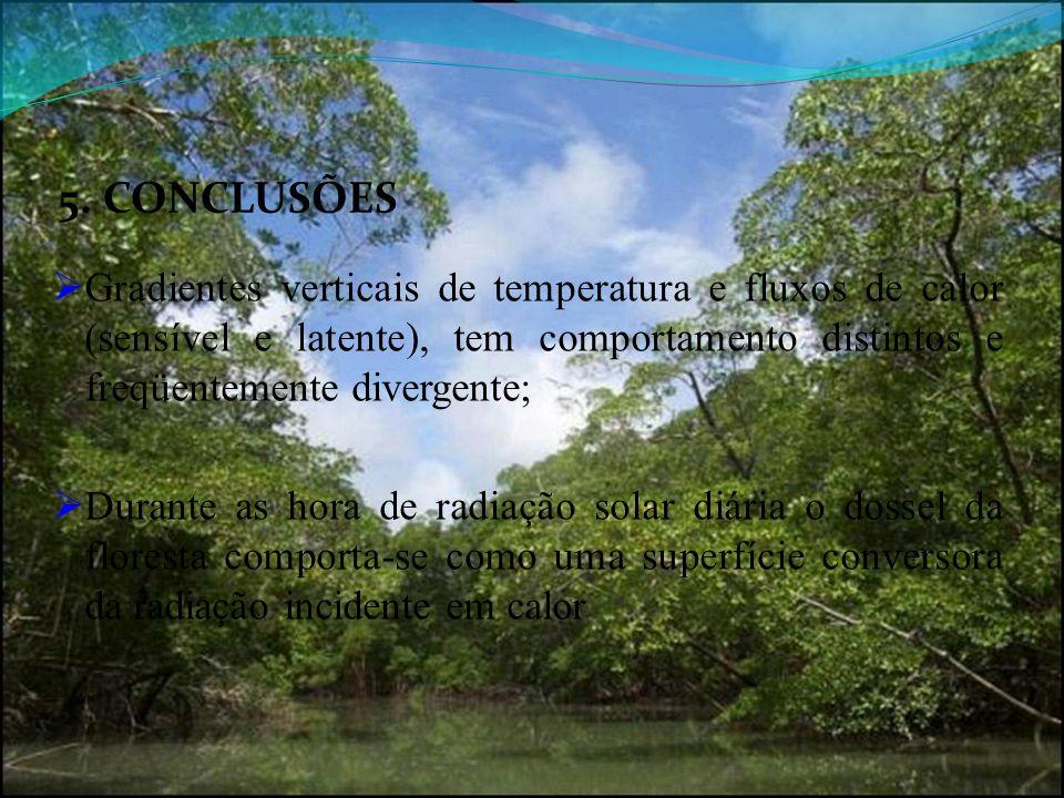 5. CONCLUSÕES Gradientes verticais de temperatura e fluxos de calor (sensível e latente), tem comportamento distintos e freqüentemente divergente; Dur